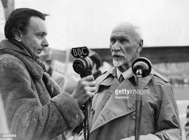 South African Prime Minister General Jan Smuts is interviewed by the BBC on his arrival at Northolt Aerodrome for the Empire Prime Ministers'...