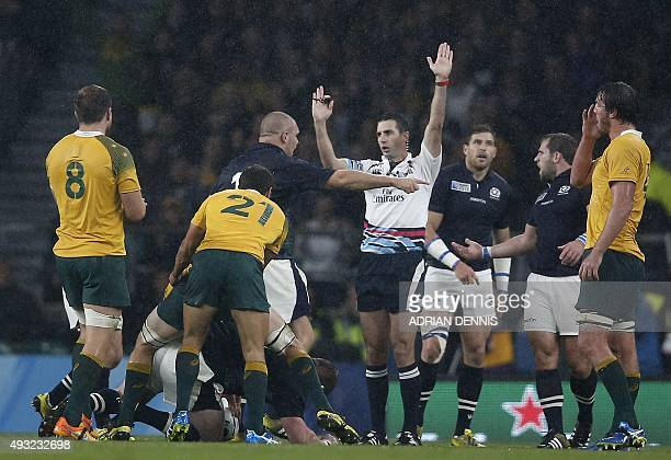 South African referee Craig Joubert awards the final penalty to Australia during a quarter final match of the 2015 Rugby World Cup between Australia...