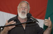 South African right wing extremist and leader of the Afrikaner movement the AWB Eugene Terre'Blanche addressing AWB members on March 1 2008 in South...
