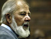 South African right wing extremist and leader of the Afrikaner movement the AWB Eugene Terre'Blanche appears in the Potchefstroom Magistrates Court...