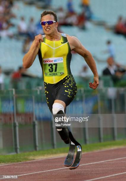 South African runner Oscar Pistorius on his way to winning the Mens 400m 'B' race during the IAAF Golden Gala at The Olympic Stadium on July 13 2007...
