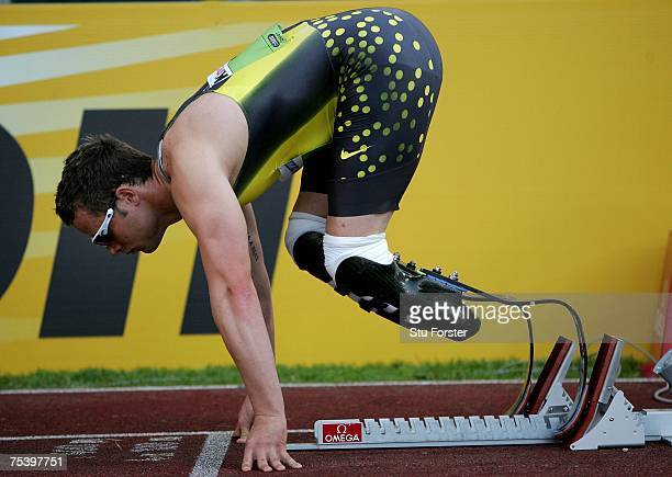 South African runner Oscar Pistorius settles in the blocks before winning the Mens 400m 'B' race during the IAAF Golden Gala at The Olympic Stadium...