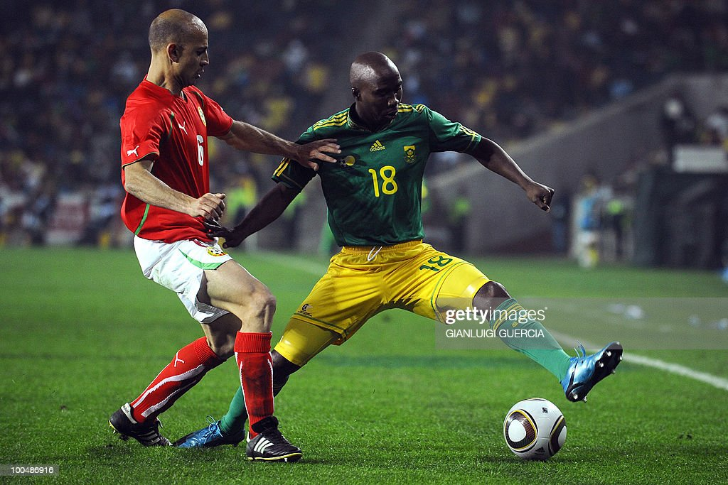 South African Siyabonga Nomvete(R) and Bulgaria's Stanislav Angelov(L) fight for the ball during their international friendly football match against Bulgaria at the Orlando stadium in Soweto, Johannesburg. on May 24, 2010. The 2010 FIFA World Cup football championship is due to take place in South Africa from June 11 to July 11 of 2010.