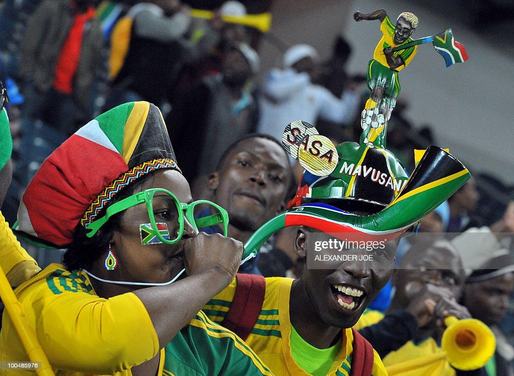 South African soccer fans have fun during the friendly football match between South Africa vs Bulgaria at Orlando Stadium in Soweto on May 24, 2010 ahead of the FIFA 2010 World Cup in South Africa. The match ended in a draw 1-1.