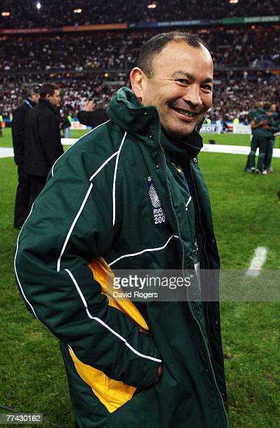 South African specialist coach Eddie Jones smiles after the 2007 Rugby World Cup Final between England and South Africa at the Stade de France on...