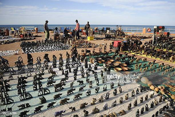 South African street vendors display and sell african merchandise and articraft on King's beach promenade on May 13 2010 in Port Elizabeth South...