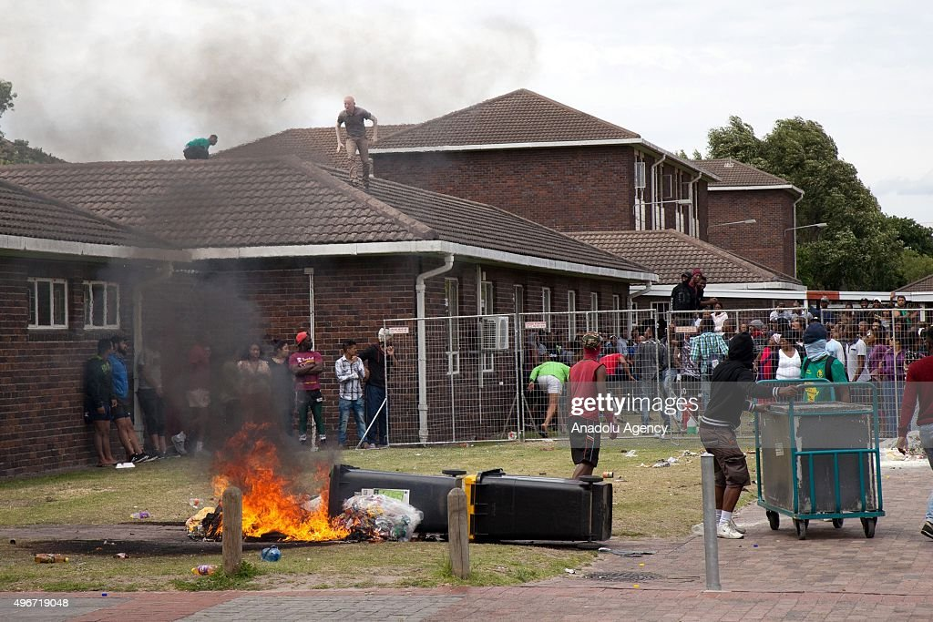 South African students protest against the increase of tuition fees at Western Cape Town University in Cape Town South Africa on November 11 2015