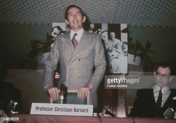 South African surgeon Christiaan Barnard who performed the first successful human heart transplant in 1967 at the launch of his autobiography 'One...