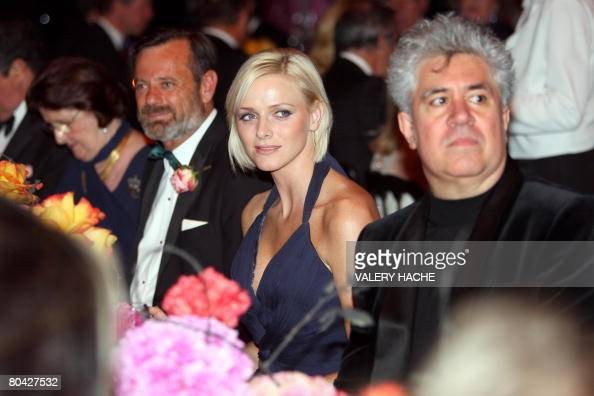 South African swimmer Charlene Wittstock the Prince Albert II of Monaco's girlfriend and Spanish director Pedro Almodovar attend the annual Rose Ball...