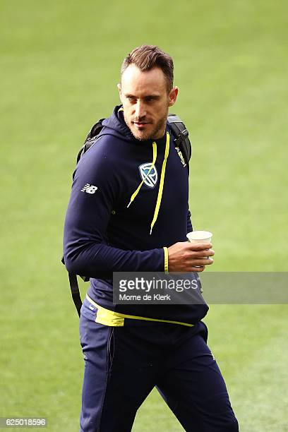 South African Test cricket captain Faf du Plessis leaves the Adelaide Oval after a hearing into ball tampering at Adelaide Oval on November 22 2016...
