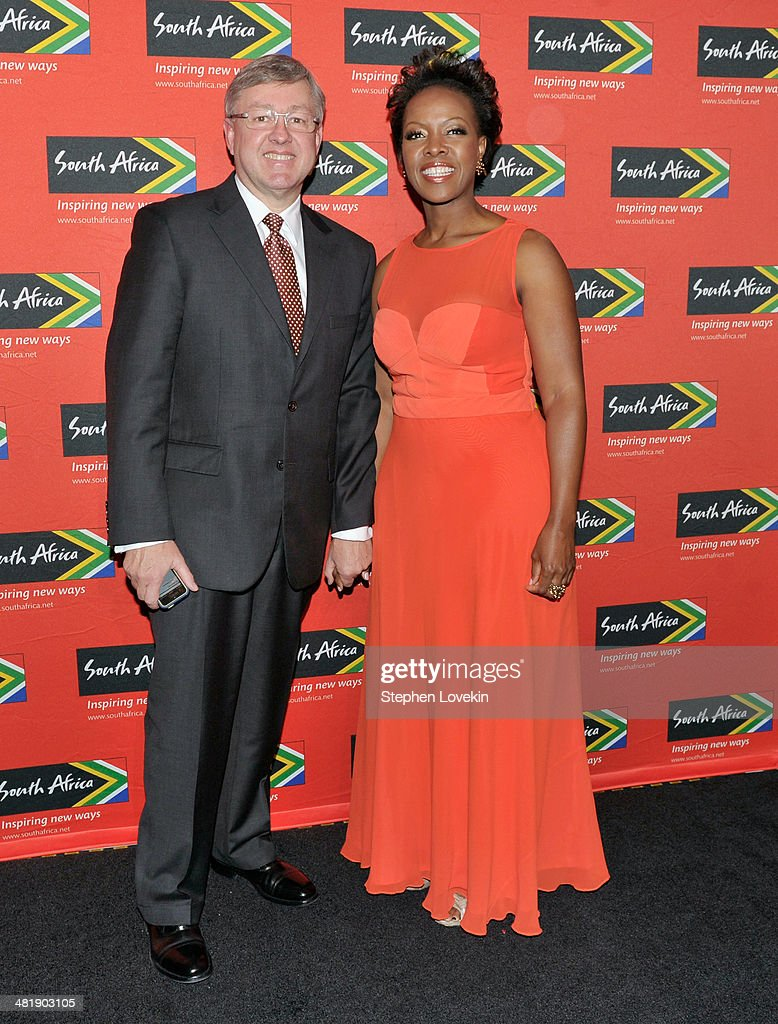 South African Tourism Bureau Minister Marthinus van Schalkwyk and President North America South African Tourism Sthu Zungu attend the 2014 Ubuntu Awards at Gotham Hall on April 1, 2014 in New York City.