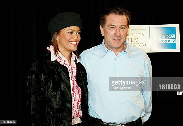 South African Tourism President Prudence Solomon and actor Robert De Niro attend the 2004 Tribeca Film Festival kickoff press conference at Silver...