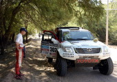 South African Toyota driver Giniel De Villiers awaits the start of the Stage 6 of the Dakar 2014 between Tucuman and Salta Argentina on January 9...