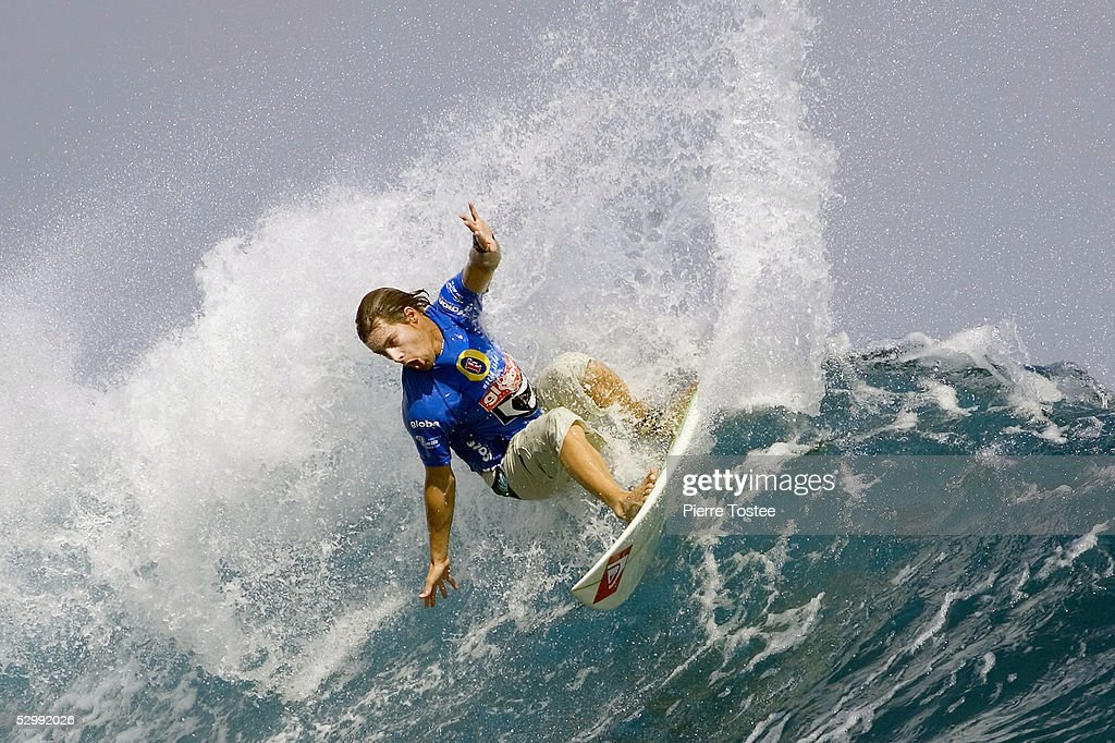 South African Travis Logie causes a major upset in round one of the Globe WCT Fiji May 28, 2005 in Tavarua Island, Fiji. Logie sidelined former ASP world number two Australian Luke Egan and Australian Bede Durbidge to the losers round while Logie progressed directly to round three of the event.