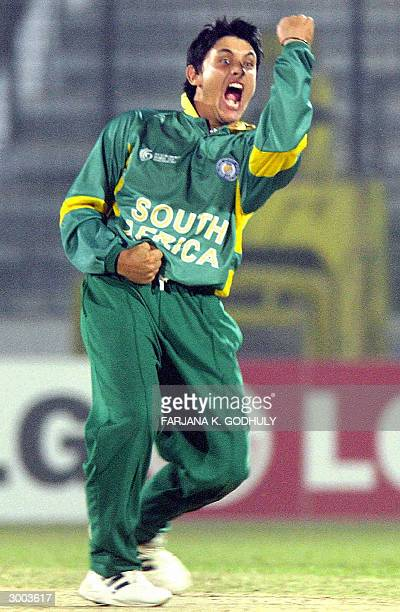 South African under 19 cricket team's bowler Vaughn Jaarsveld gestures as he celebrates after dismissing Praveen Gupta during the Under 19 Cricket...