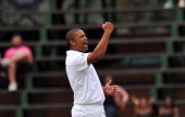 South African Vernon Philander celebrates the wicket of Australian Phillip Hughes on day 4 of the 2nd Final Test between Australia and South Africa...