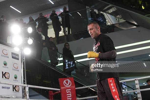 South African veteran of boxing Danie Venter performs open training before his fight against Ukrainian 2012 Olympic Gold Medalist Oleksandr Usyk...