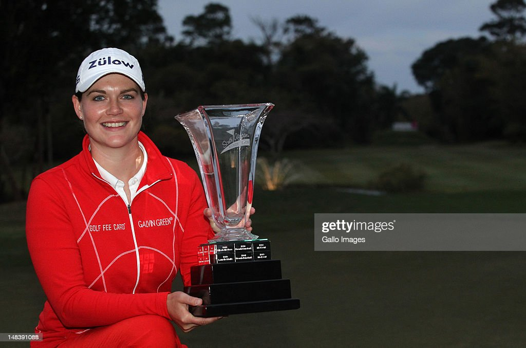 South African Women's Open Champion <a gi-track='captionPersonalityLinkClicked' href=/galleries/search?phrase=Caroline+Masson&family=editorial&specificpeople=2259560 ng-click='$event.stopPropagation()'>Caroline Masson</a> of Germany during day 3 of the South African Womens Golf Open at Selborne Country Club on July 15, 2012 in KwaZulu Natal, South Africa.