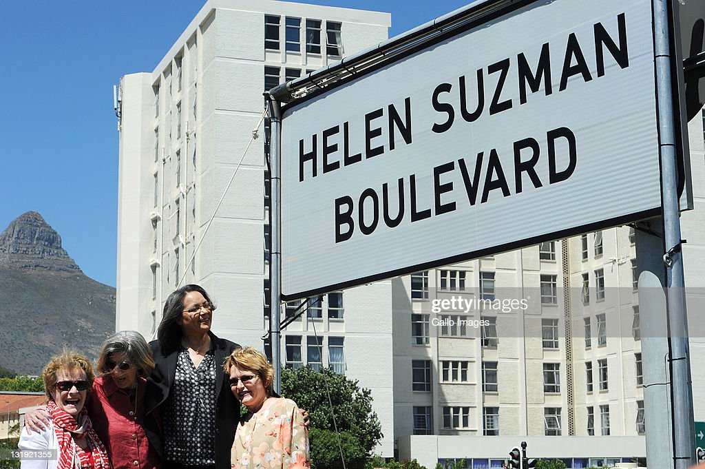 South African-born British actress Dame Janet Suzman, Helen Suzman's daughter, Patricia Suzman, Cape Town Mayor Patricia De Lille and Premier <a gi-track='captionPersonalityLinkClicked' href=/galleries/search?phrase=Helen+Zille&family=editorial&specificpeople=869313 ng-click='$event.stopPropagation()'>Helen Zille</a> attend the unveiling of Western Boulevard's renaming to Helen Suzman Boulevard on November 7, 2011 in Cape Town, South Africa.