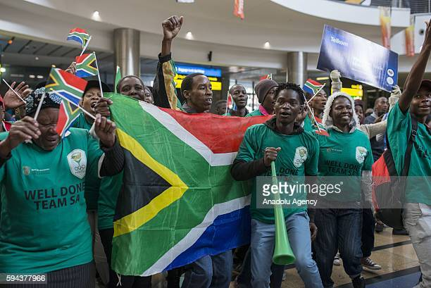 South Africans welcome team of South Africa during their arrival from Rio 2016 Olympic Games at O R Tambo International Airport in Gauteng province...