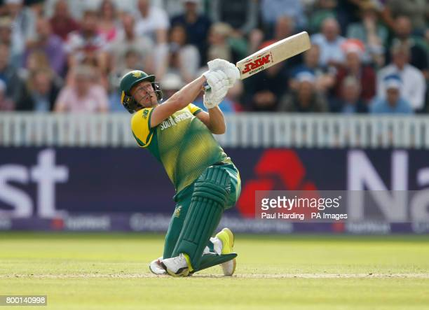 South Africa's AB De Villiers hits a 6 over the stands during the second NatWest T20 Blast match at the Cooper Associates County Ground Taunton