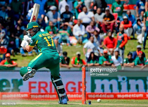 South Africa's AB de Villiers mishits the ball during the second one day international cricket match between South Africa and Bangladesh at Boland...
