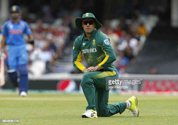 South Africa's AB de Villiers watches another Indian boundary during the ICC Champions Trophy match between South Africa and India at The Oval in...