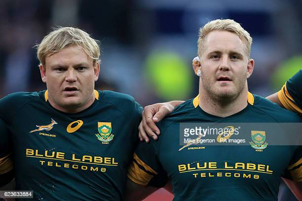South Africa's Adriaan Strauss and Vincent Koch during the Autumn International match at Twickenham Stadium London