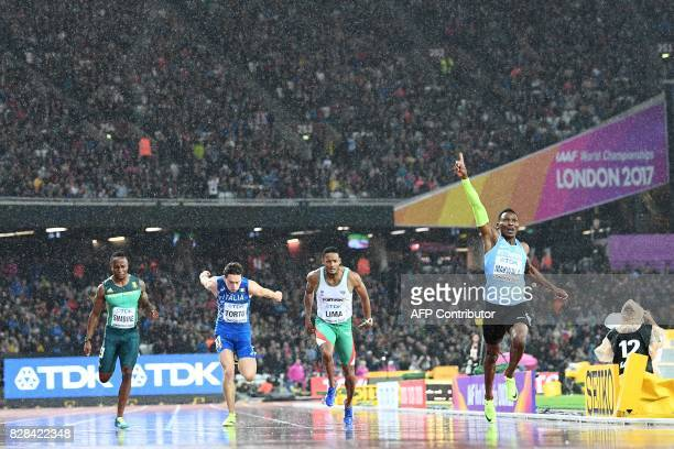 South Africa's Akani Simbine Italy's Filippo Tortu Portugal's David Lima and Botswana's Isaac Makwala compete in the semifinal of the men's 200m...