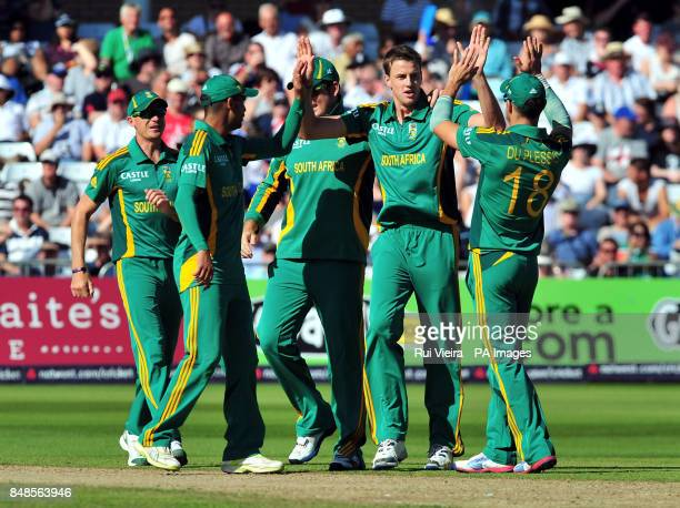 South Africa's Albie Morkel celebrates the wicket of England's Jonny Bairstow caught by Justin Ontong during the Fifth NatWest One Day International...