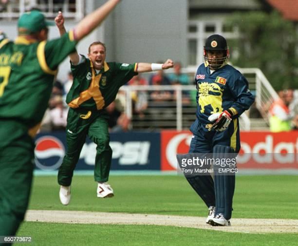 South Africa's Allan Donald celebrates taking the wicket of Sri Lanka's Arjuna Ranatunga