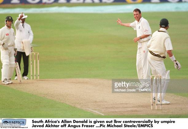 South Africa's Allan Donald is controversially given out lbw by umpire Javed Akhtar off the bowling of England's Angus Fraser