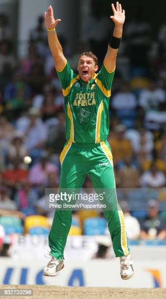 South Africa's Andre Nel appeals successfully for the wicket of England's Michael Vaughan during the World Cup Super Eight match between England and...