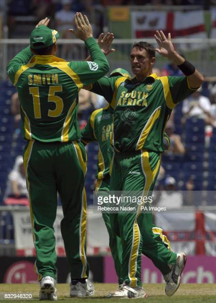South Africa's Andre Nel celebrates the wicket of England's Monty Panesar during the ICC Cricket World Cup match at the Kensington Oval Bridgetown...