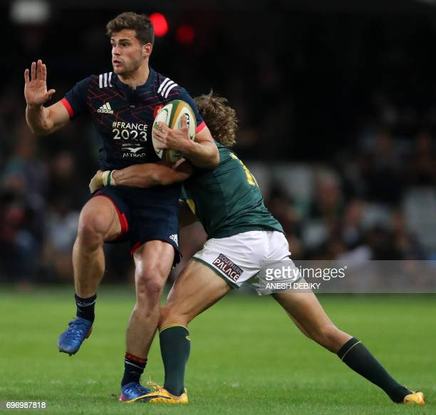 South Africa's Andries Coetzee tackles France's Damian Penaud during the International test match between South Africa and France at the Kingspark...