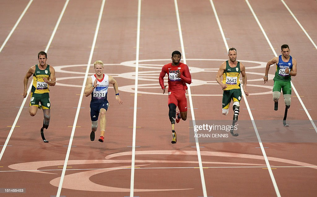South Africa's Arnu Fourie, Britain's Jonnie Peacock, US athlete Richard Brown, South Africa's Oscar Pistorius and Brazil's Alan Fonteles Cardoso Oliveira compete in the men's 100m T44 final during the athletics competition at the London 2012 Paralympic Games at the Olympic Stadium in east London on September 6, 2012. Peacock won gold, Brown the second and Fourie the bronze with Pistorius fourth and Oliveira seventh.