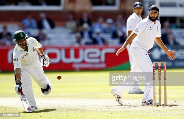 South Africa's Ashwell Prince runs safe with England's Monty Panesar looking on during The First npower Test match at Lord's Cricket Ground London