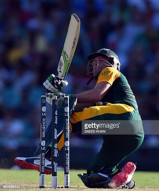 South Africa's batsman AB de Villiers plays a shot during the 2015 Cricket World Cup Pool B match between South Africa and the West Indies at the...