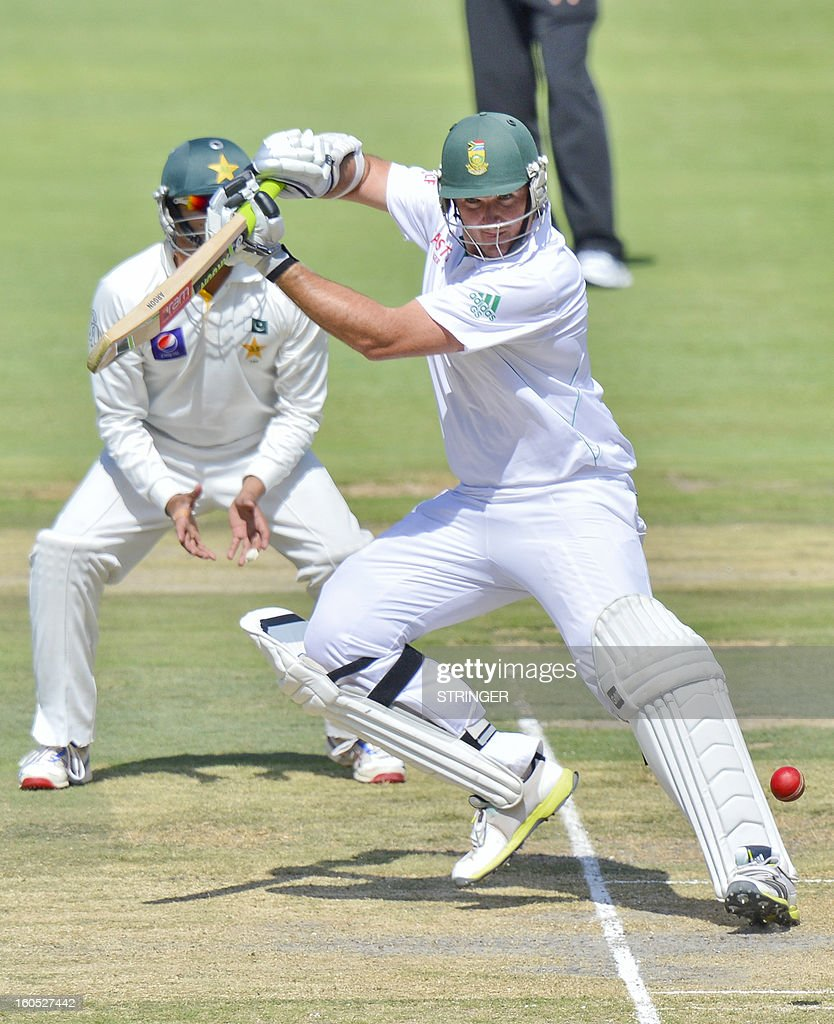 South Africa's batsman Graeme Smith plays a shot on day two of the first Test match between South Africa and Pakistan at Wanderers Stadium in Johannesburg on February 2, 2013.