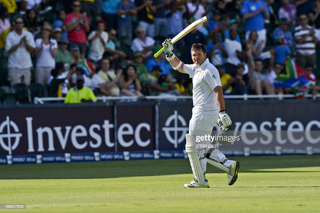 South Africa's batsman Graeme Smith walks out after being dismissed on day two of the first Test match between South Africa and Pakistan at Wanderers Stadium in Johannesburg on February 2, 2013.