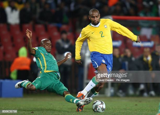 South Africas Bernard Parker And Brazils Maicon Battle For