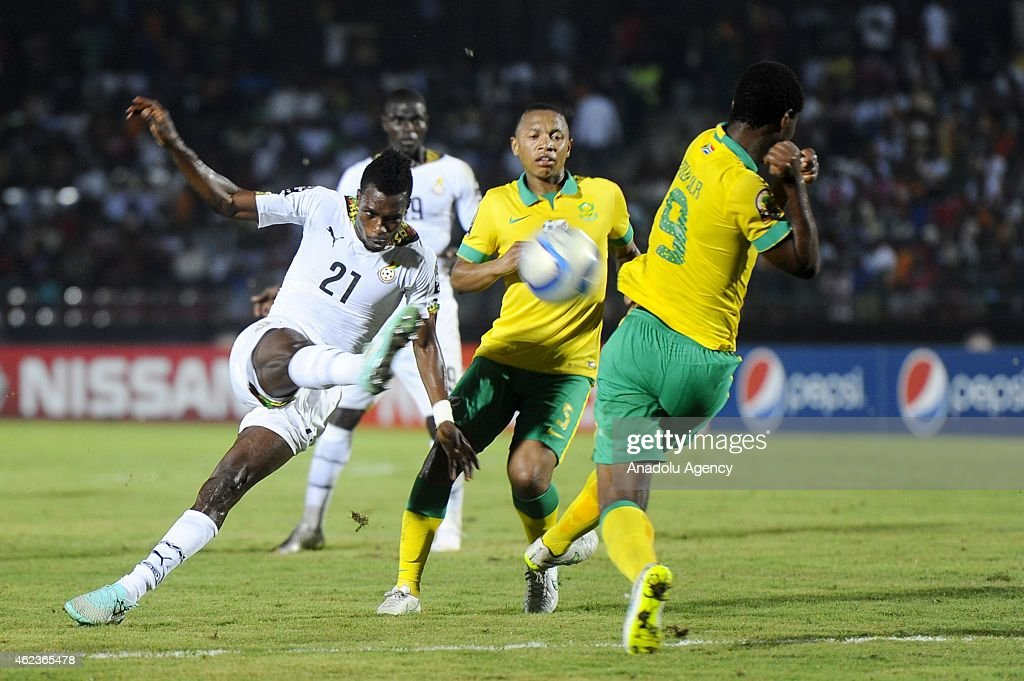 South Africa's Bongani Ndulula (R) in action against Ghana's <a gi-track='captionPersonalityLinkClicked' href=/galleries/search?phrase=John+Boye&family=editorial&specificpeople=7190220 ng-click='$event.stopPropagation()'>John Boye</a> (C) during the 2015 African Cup of Nations Group C soccer match between South Africa and Ghana at Mongomo Stadium in Mongomo on January 27, 2015.