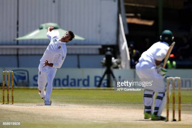 South Africa's bowler Duanne Olivier delivers a ball to Bangladesh's batsman Mahmudallah during the third day of the second Test cricket match...