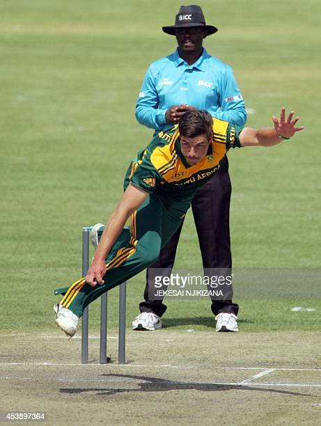 South Africa's bowler Marchant de Lange in action during the third and final cricket match of a three oneday internationals between Zimbabwe and...