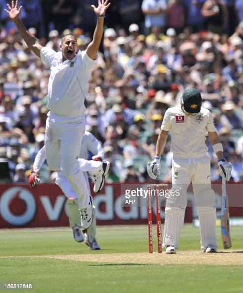 South Africa's bowler Rory Kleinvedit appeals for dismissal of Australia's batsman Michael Clarke on the first day of the second cricket Test match...