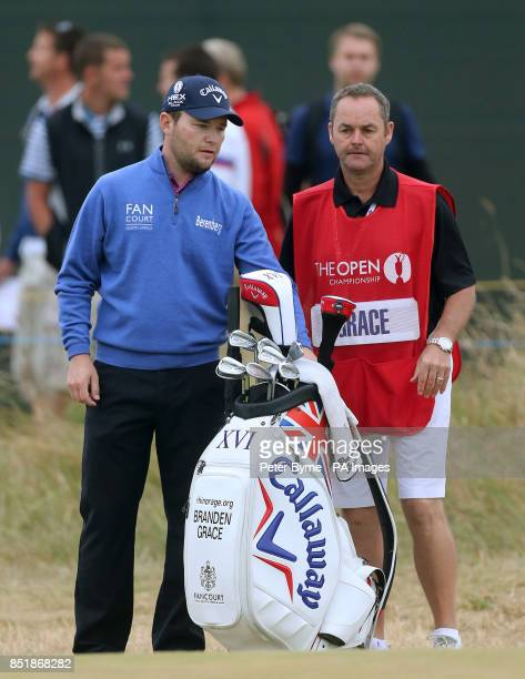South Africa's Brendan Grace and his caddie Billy Foster during day four of the 2013 Open Championship at Muirfield Golf Club East Lothian