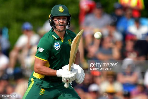 South Africa's captain AB de Villiers bats during the second oneday international cricket match between New Zealand and South Africa at the Hagley...