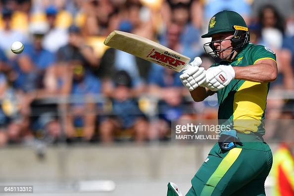 TOPSHOT South Africa's captain AB de Villiers bats during the third one day International cricket match between New Zealand and South Africa at...