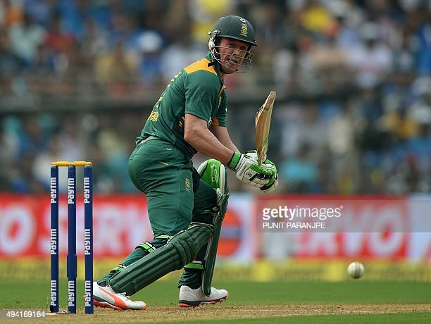 South Africa's captain AB de Villiers plays a shot during the fifth one day international cricket match between India and South Africa at The...
