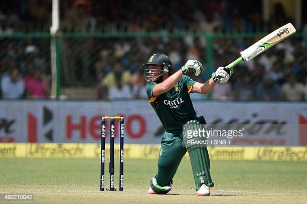 South Africa's captain AB de Villiers plays a shot during the first one day international cricket match between India and South Africa at Green Park...